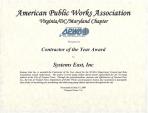 Contractor of the Year Award – APWA
